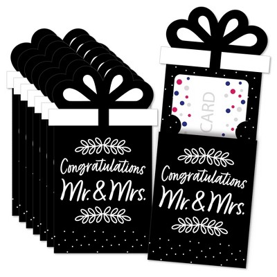 Big Dot of Happiness Mr. and Mrs. - Black and White Wedding or Bridal Shower Money and Gift Card Sleeves - Nifty Gifty Card Holders - Set of 8