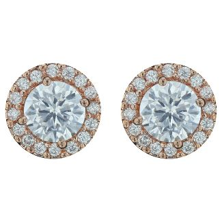 Cubic Zirconia Button Post Gold Plated Earrings Halo - Silver/Copper
