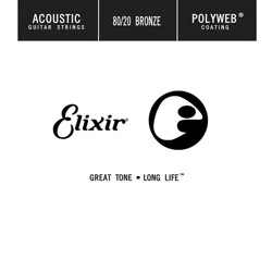 Elixir 80/20 Bronze Single Acoustic Guitar String with POLYWEB Coating (.027)