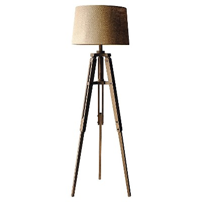 Mariner Tripod Style Wood Floor Lamp with Burlap Drum Shade Rust - 3R Studios