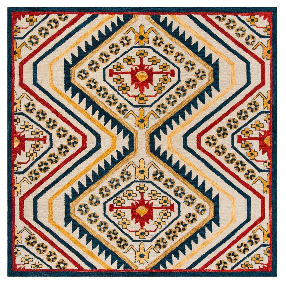 Ivory Tribal Design Tufted Square Area Rug 7'X7' - Safavieh, Ivory Nmulti-Colored