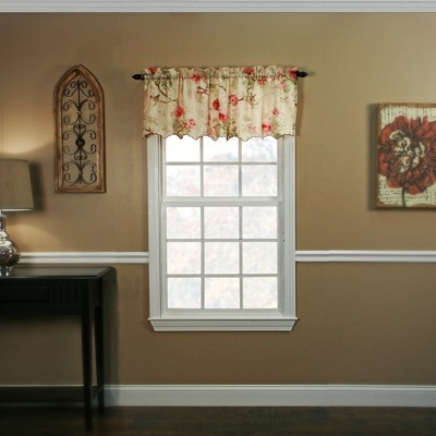 "Ellis Curtain Balmoral High Quality Room Darkening Solid Natural Color floral print fabric Window Valance - (48""x15"")"