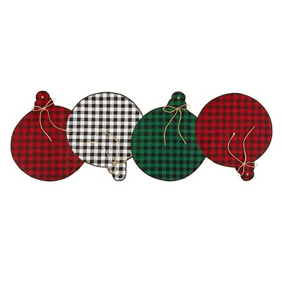 "Farmhouse Living Holiday Rustic Ornaments Burlap Centerpiece Runner - 13"" x 36"" - Elrene Home Fashions"