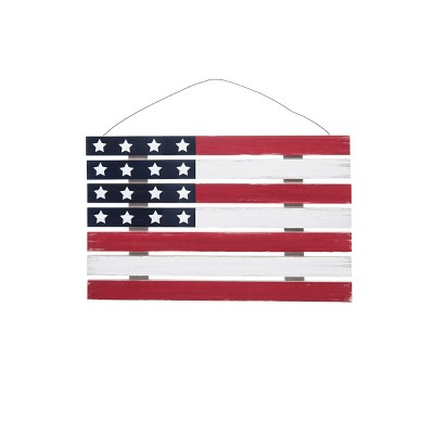 C&F Home Wooden American July 4th Flag Wall Decor