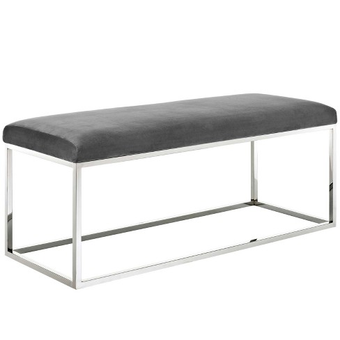 Surprising Gaze White Fabric Bench Silver Gray Modway Gmtry Best Dining Table And Chair Ideas Images Gmtryco