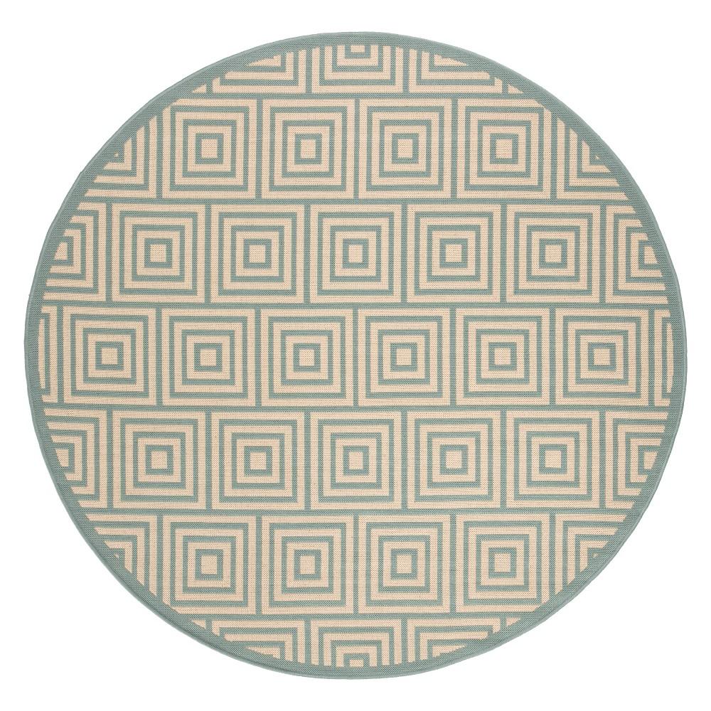 6'7 Geometric Loomed Round Area Rug Cream/Aqua (Ivory/Blue) - Safavieh