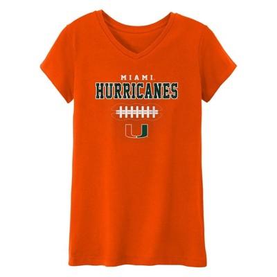 NCAA Miami Hurricanes Girls' Short Sleeve V-Neck T-Shirt