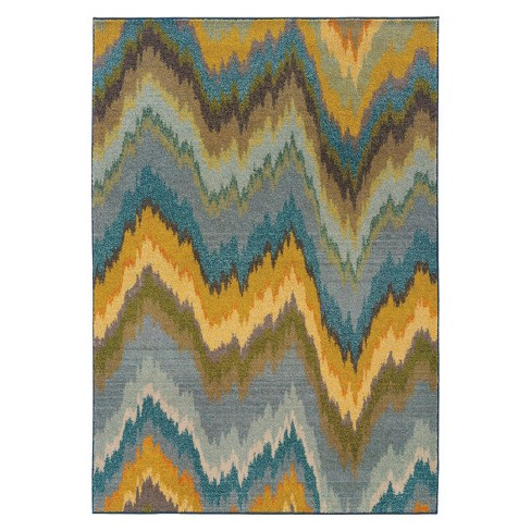 Jagged Chevron Rug - Blue/Yellow - image 1 of 1