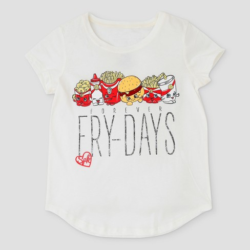 Girls' Shopkins Forever Fry-Days Graphic Short Sleeve T-Shirt - Ivory - image 1 of 2