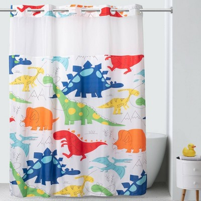 "71""x74"" DinoMite Shower Curtain with PVC Storage Pocket Liner - Hookless"