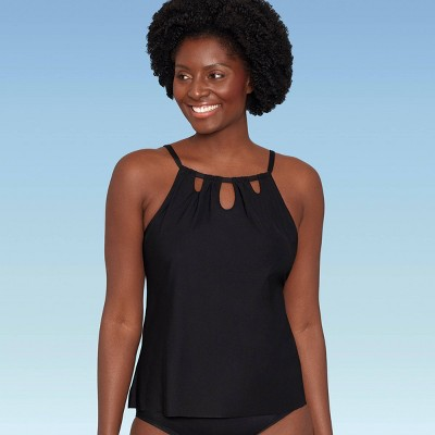 Women's Slimming Control High Neck Cut Out Tankini Top - Dreamsuit by Miracle Brands Black