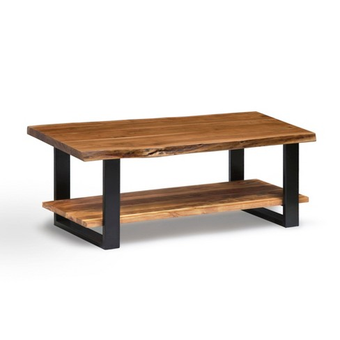 Alaterre Furniture 48 Alpine Natural Brown Live Edge Large Coffee Table Metal And Wood
