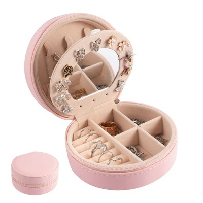 Small Travel Jewelry Organizer Case with Mirror, Storage Box for Rings Earrings Necklaces, Gifts for Women, Pink