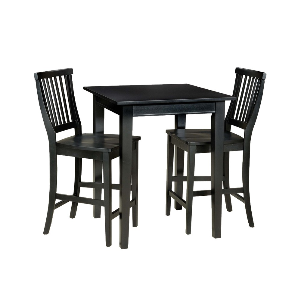 Image of 3 Piece Bistro Square Table with 2 Stools Wood/Black - Home Styles