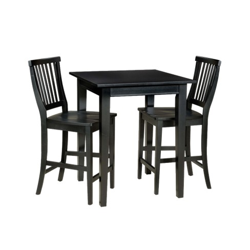 3 Piece Bistro Square Table With 2 Stools Wood Black Home Styles