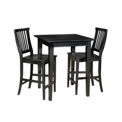 3 Piece Bistro Square Table With 2 Stools Wood/Black   Home Styles