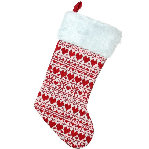 """Northlight 15"""" Red and White Heart and Snowflake Knit Christmas Stocking with White Faux Fur Cuff - image 1 of 4"""