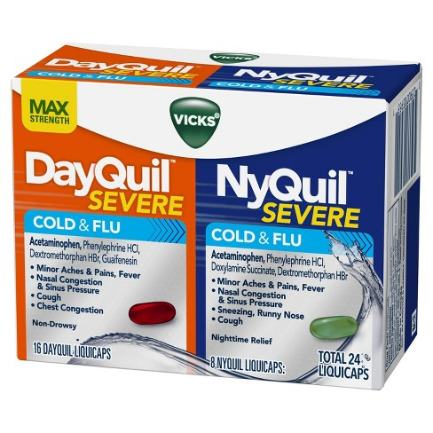Vicks DayQuil & NyQuil Severe Cold & Flu Relief Liquicaps - Acetaminophen - 24ct - image 1 of 8