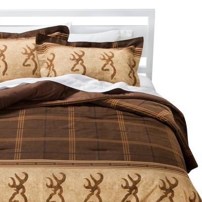 Brown Buckmark Logo Plaid Comforter Set 3 Piece (California King)- Browning