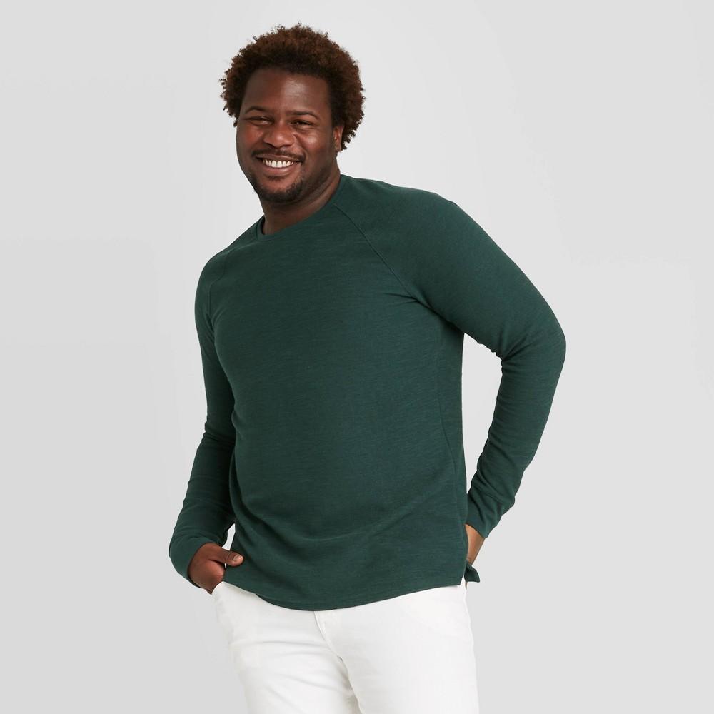 Men 39 S Big 38 Tall Regular Fit Long Sleeve Textured Crew Neck T Shirt Goodfellow 38 Co 8482 Green 5xb