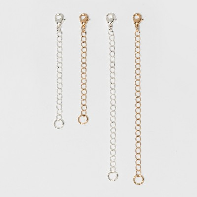 Chain Extenders For Necklace 4pc - A New Day™ Silver/Gold