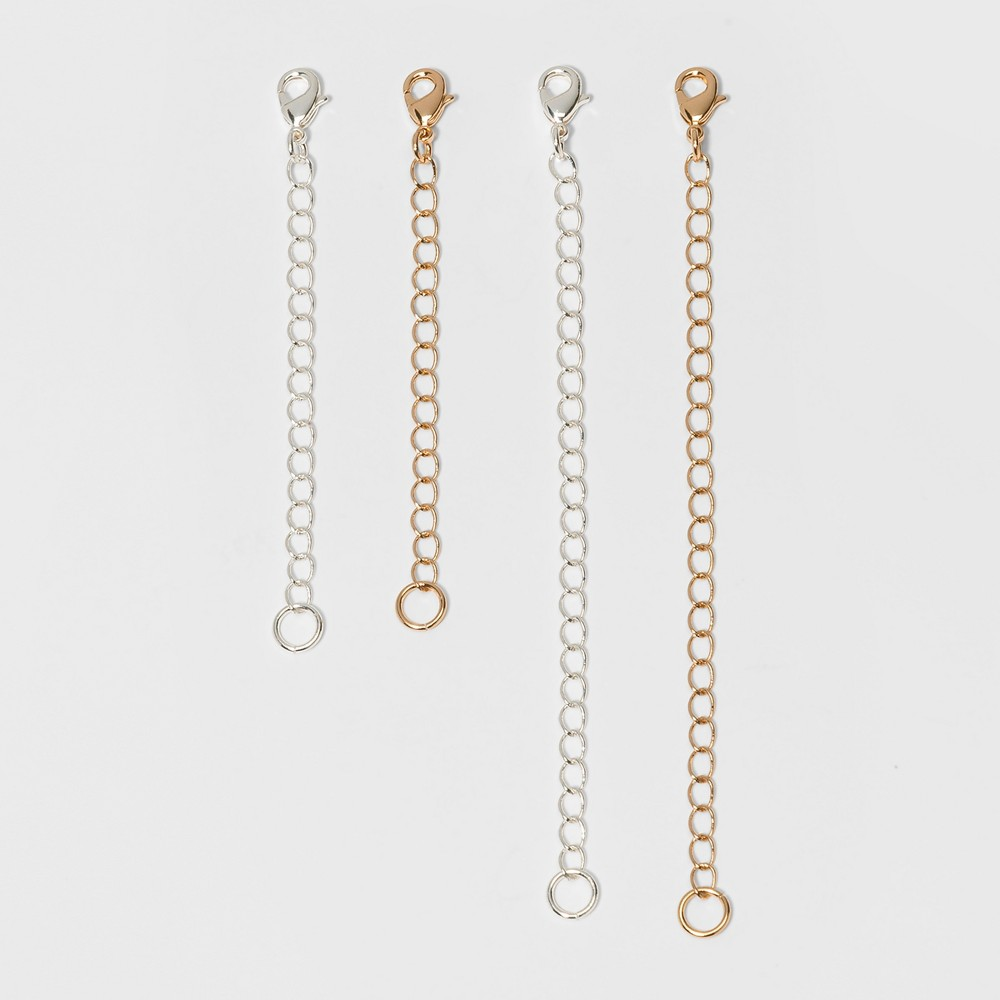 Image of Chain Extenders For Necklace 4pc - A New Day Silver/Gold, Women's, Gold Silver