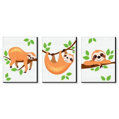 Big Dot of Happiness Let's Hang - Sloth - Nursery Wall Art and Kids Room Decorations - Gift Ideas - 7.5 x 10 inches - Set of 3 Prints