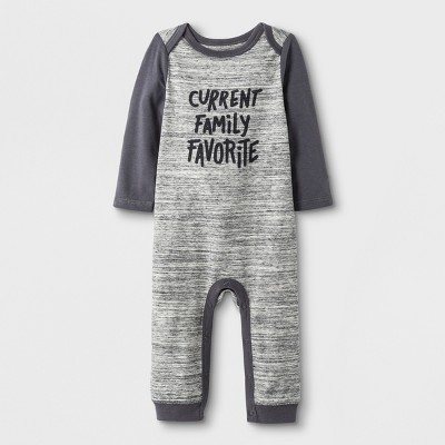Baby Boys' Long Sleeve Lap Shoulder Current Family Favorite Romper - Cat & Jack™ Gray 3-6M