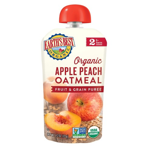 Earth's Best Organic Stage 2 Apple Peach Oatmeal Baby Food 4.2oz - image 1 of 2