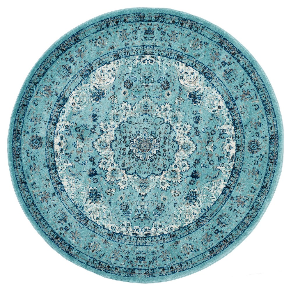 5 39 1 34 Round Abstract Loomed Area Rug Blue Safavieh