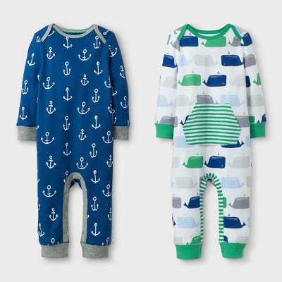 Baby Boys' 2pk Coverall Set Cloud Island™ - Blue/Green 0-3M