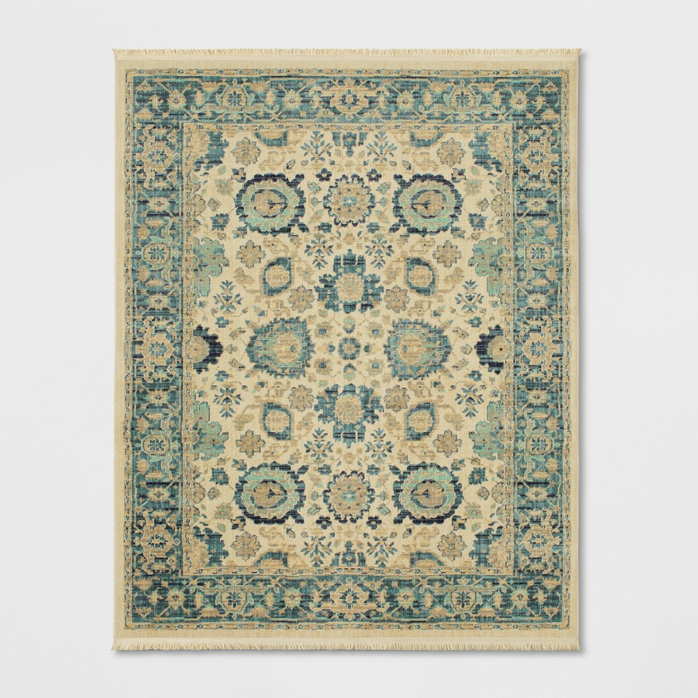 Persian with Fringe Border Woven Area Rug Beige