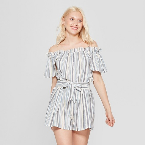 40149fe66855 Women s Striped Short Sleeve Off The Shoulder Top - A New Day™ White Green    Target