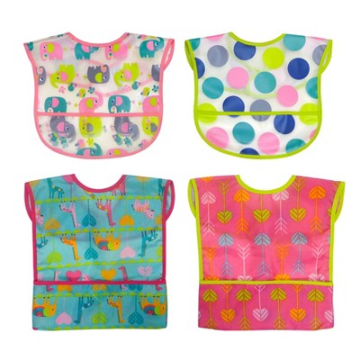 Neat Solutions Girl Water-Resistant Full-Coverage Toddler Bib Set - 4pk