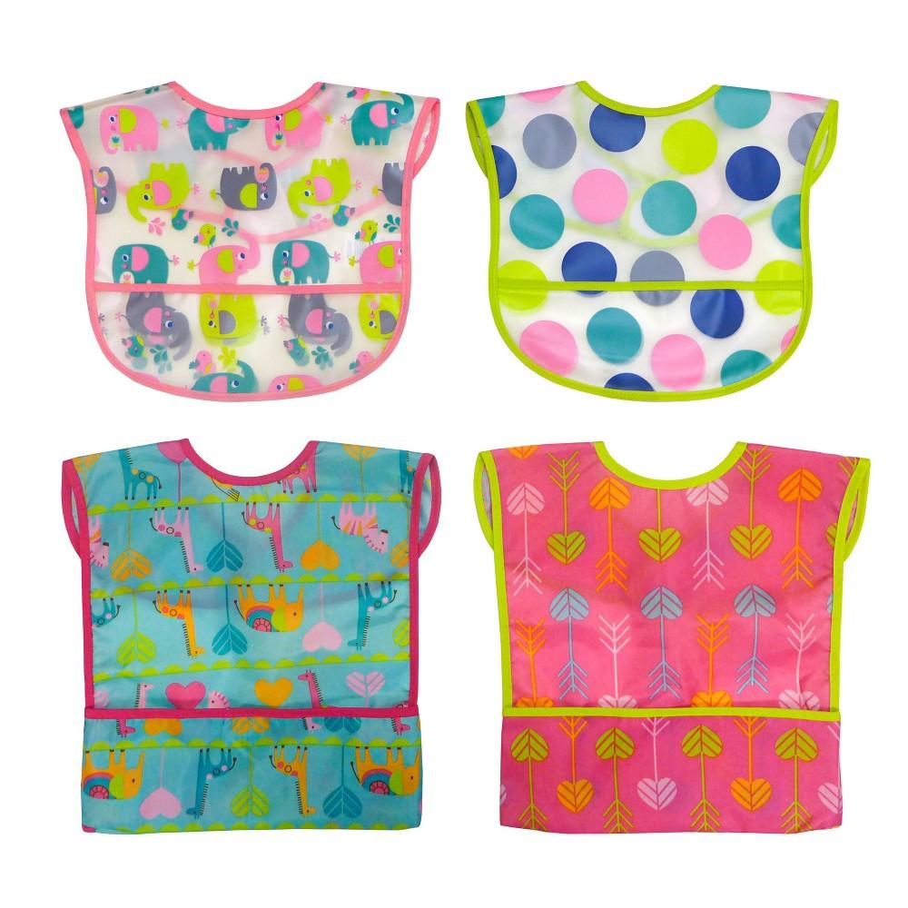Image of Neat Solutions Girl Water-Resistant Full-Coverage Toddler Bib Set - 4pk