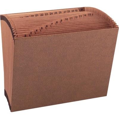"""Sparco Accordion Files No-Flap 31 Pckts 1-31 Letter 12""""x10"""" Brown 26535"""