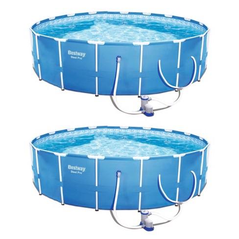 Bestway Steel Pro 12ft x 30in Frame Above Ground Pool Set w/ 2 Pack Filter  Pump