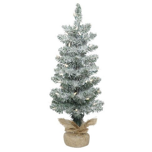 2ft Pre-Lit Frosted Pole Pine Artificial Christmas Tree in Burlap Base with Clear Lights - image 1 of 1