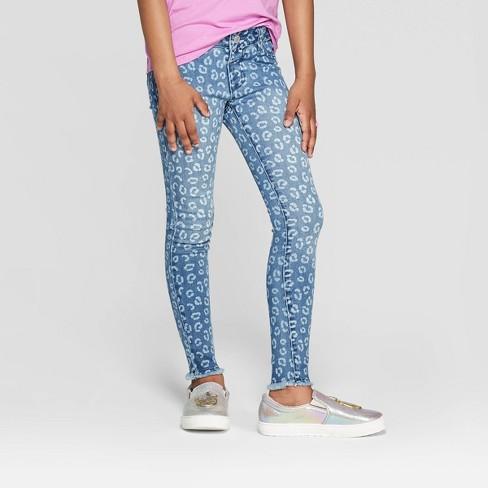 Girls' Animal Print Skinny Jeans - Cat & Jack™ Medium Wash - image 1 of 3