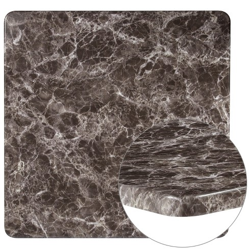 Flash Furniture 42 Round Gray Marble Laminate Table Top