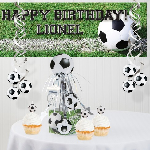 Surprising Soccer Decorations Party Kit Green White Target Personalised Birthday Cards Beptaeletsinfo