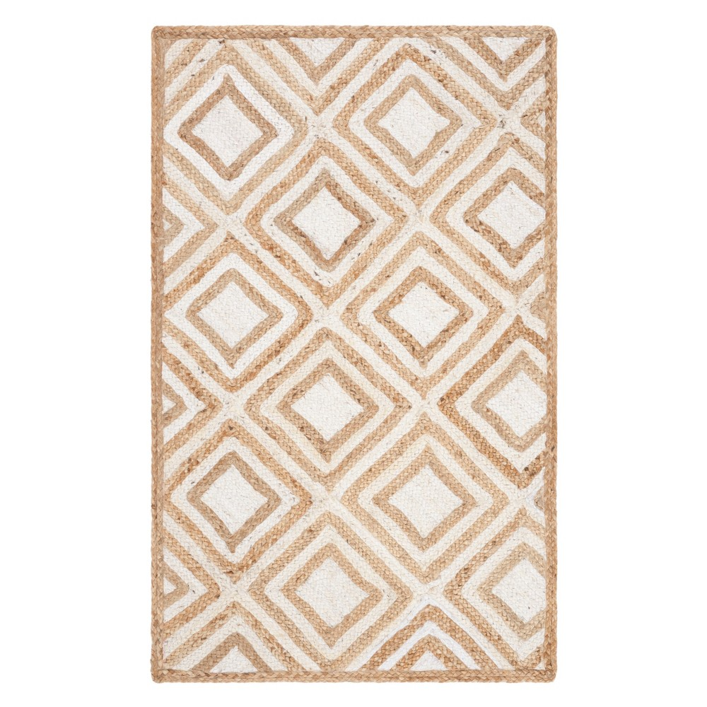 3X5 Geometric Woven Accent Rug Natural/Ivory - Safavieh Top