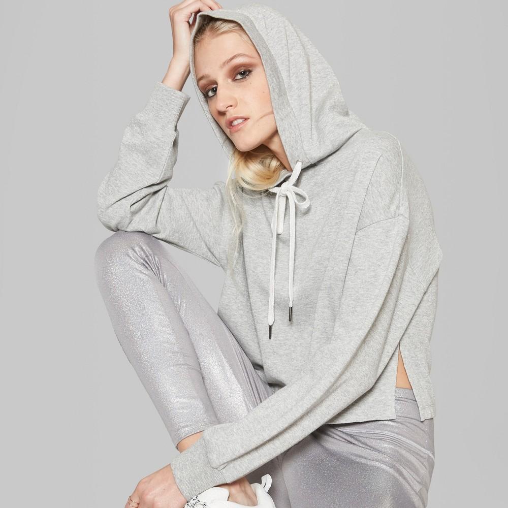 Women's Long Sleeve Lurex Cropped Hoodie - Wild Fable Heather Gray Xxl
