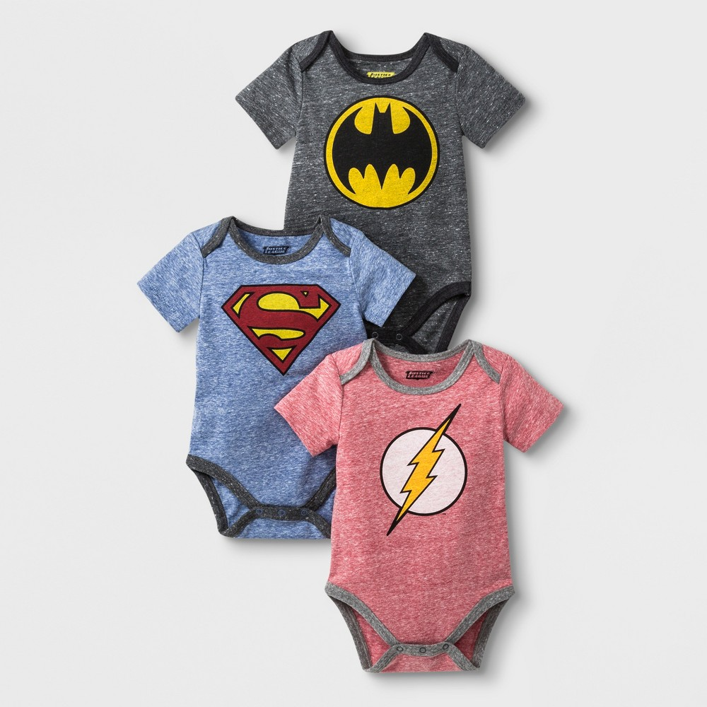 Baby Boys' DC Comics DC Super Heroes 3pk Short Sleeve Bodysuits - Gray/Red 6-9M, Multicolored