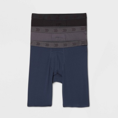 Men's Long Boxer Briefs 3pk - All in Motion™ Black/Dark Gray/Navy