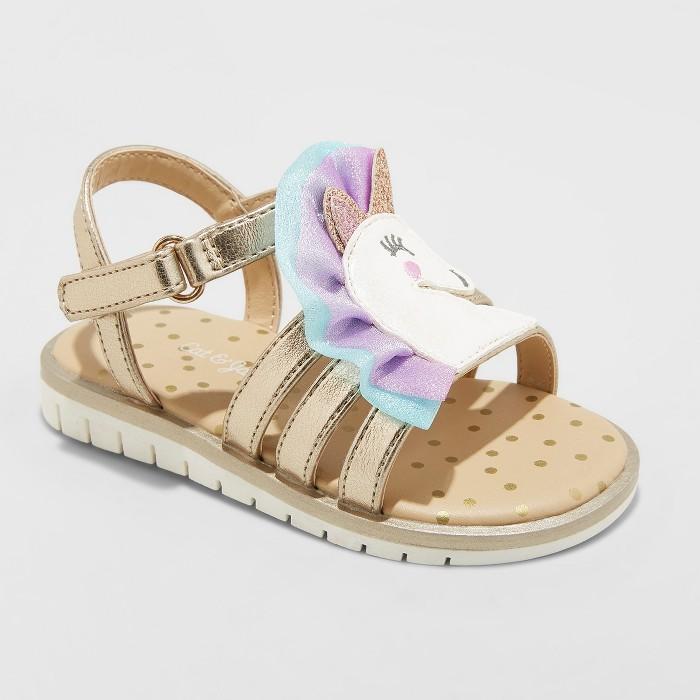Toddler Girls' Kailey Unicorn Slide Sandals - Cat & Jack™ Gold - image 1 of 3