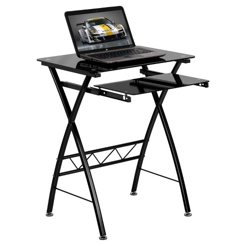 Black Tempered Glass Computer Desk with Pull - Out Keyboard Tray - Black Glass Top/Black Frame - Riverstone Furniture Collection - image 1 of 2
