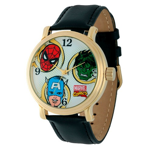 Men's Marvel Spider-Man, Hulk and Captain America Vintage Watch Shiny with Alloy Case - Black - image 1 of 2