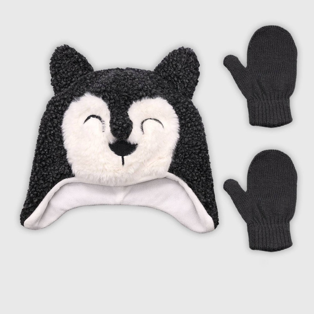 Image of Toddler Boys' Hat And Glove Set - Cat & Jack Grey 2T-5T, Boy's, Size: Small, Gray