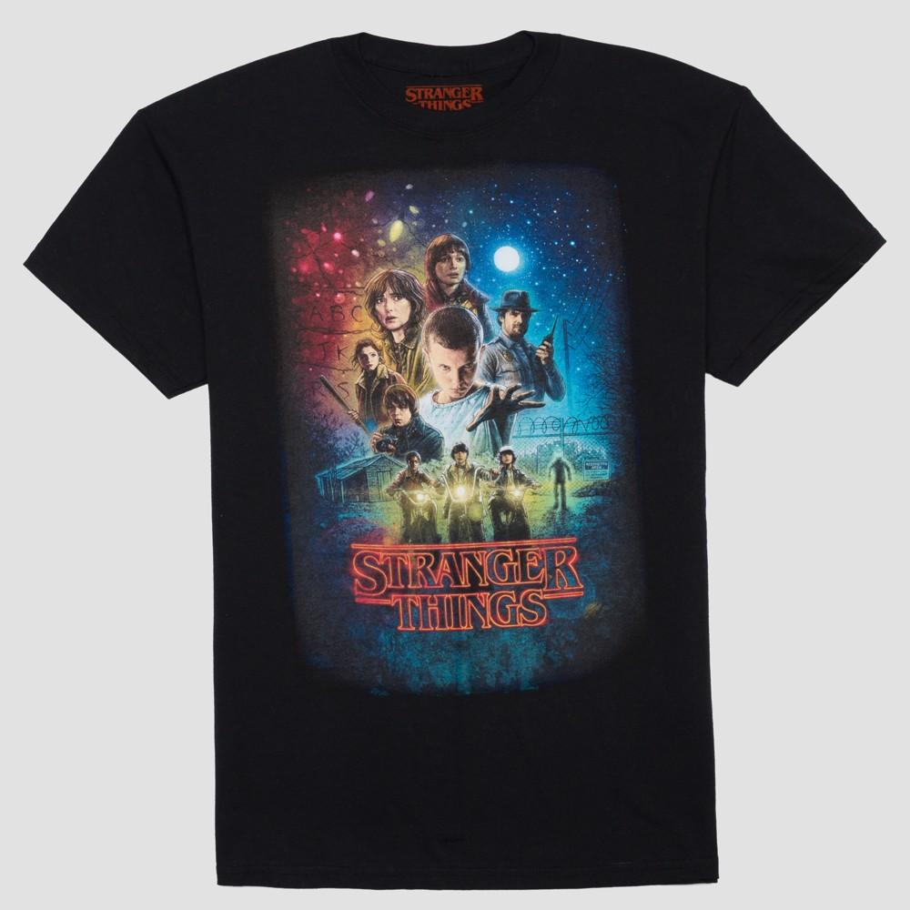 Men's Big & Tall Stranger Things Short Sleeve Group Shot Graphic T-Shirt - Black 4XL